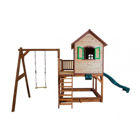 cabane pour enfants en bois liam avec 1 balan oire 118x120x174cm axi. Black Bedroom Furniture Sets. Home Design Ideas