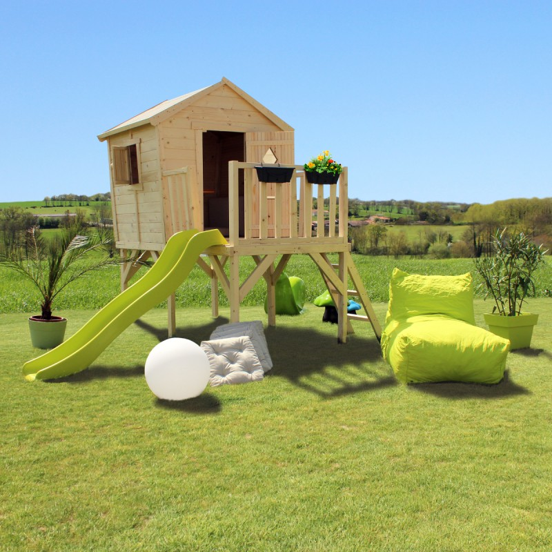 cabane pour enfants en bois sur pilotis morgane 305x231x236cm soulet. Black Bedroom Furniture Sets. Home Design Ideas